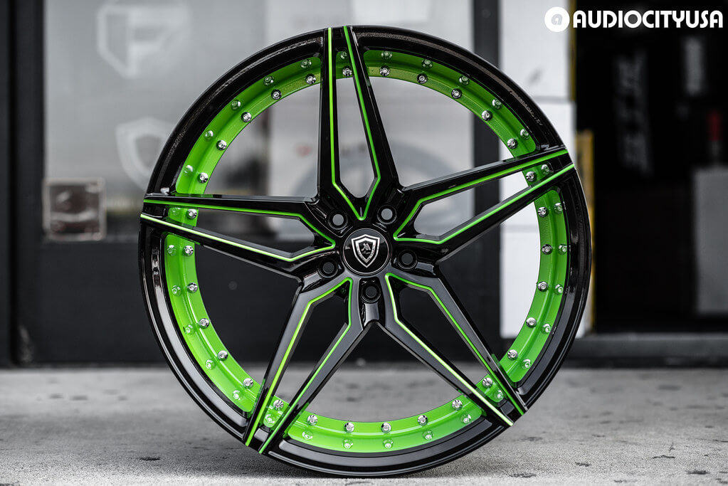 Marquee Wheels M3259 Gloss Black with Color Matched Lime Green & Anodized Green