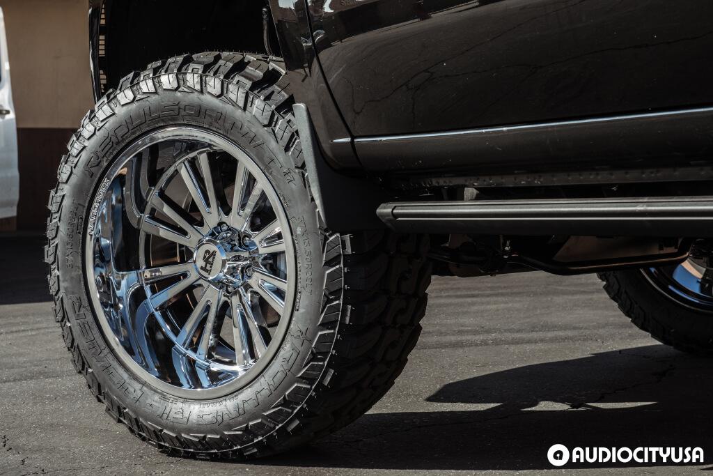 22 inches Hardrock Wheels H503 Spine Xposed Chrome for 2020 Chevrolet Silverado 1500 Audio City USA
