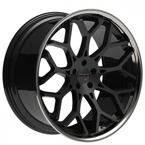 """Nissan Official Site >> 22"""" Staggered Giovanna Wheels Nove FF Black with Chrome Lip Rims #GV039-4"""