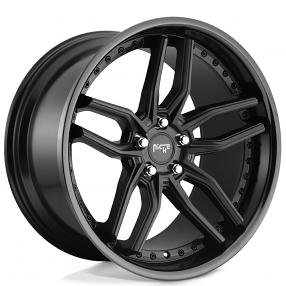 staggered niche wheels  methos matte black face  gloss black lip rims nc