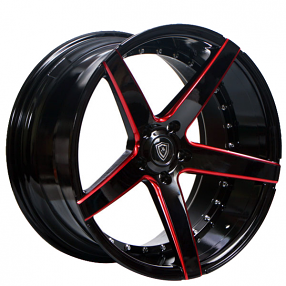 staggered marquee wheels  gloss black  red milled extreme concave rims mq