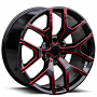"""24"""" GMC Sierra Wheels 288 Gloss Black with Red Accents OEM Replica Rims"""