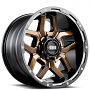 "17"" Grid Wheels GD7 Gloss Bronze Milled with Gloss Black Lip Off-Road Rims"
