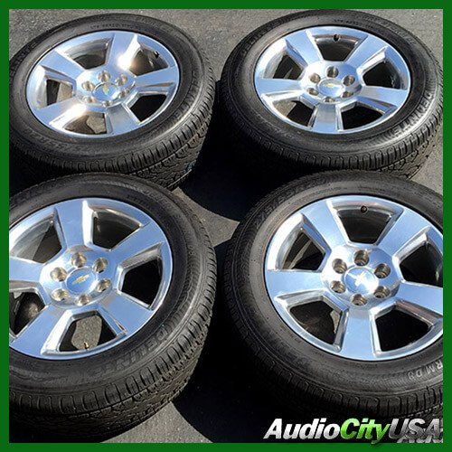 """20"""" CHEVY TAHOE SILVER FACTORY OEM WHEELS RIMS AND TIRES PKG (USED)"""