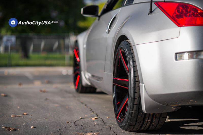 Marquee Wheels 3226 Gloss Black Milled with Red Accents Extreme Concave Rims