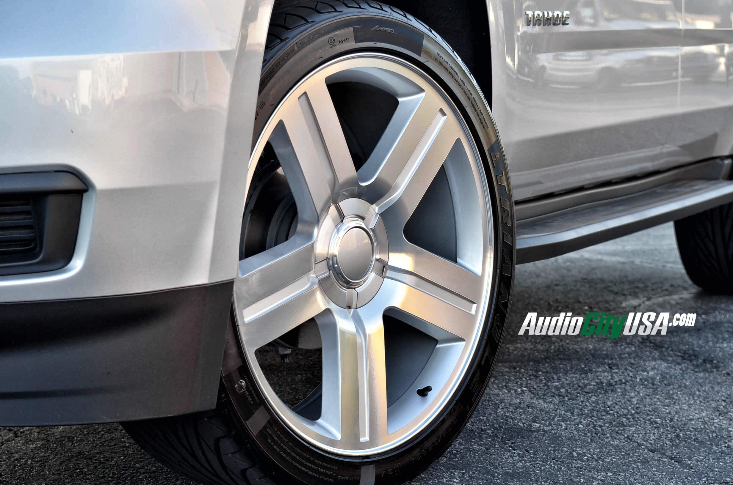24 texas edition wheels silver machine on 2014 chevy tahoe