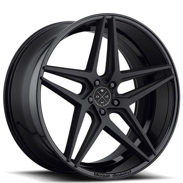 "20"" Staggered Blaque Diamond Wheels BD-8 Two Tone Black SlingShot Rims"