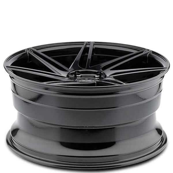 "20"" Staggered Blaque Diamond Wheels BD-1 Gloss Black Rims"