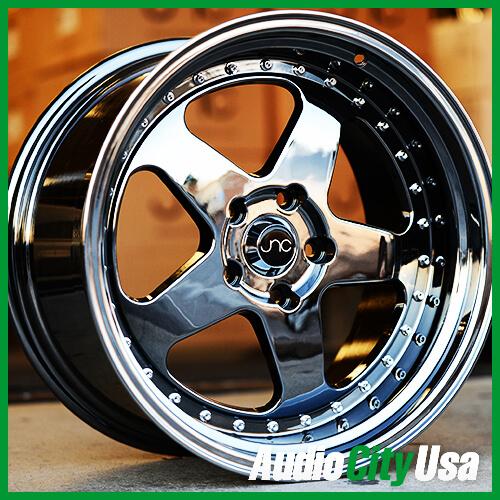 """15"""" 16"""" 17"""" 18"""" JNC010 Wheels Black Chrome JDM Rims #DC073"""