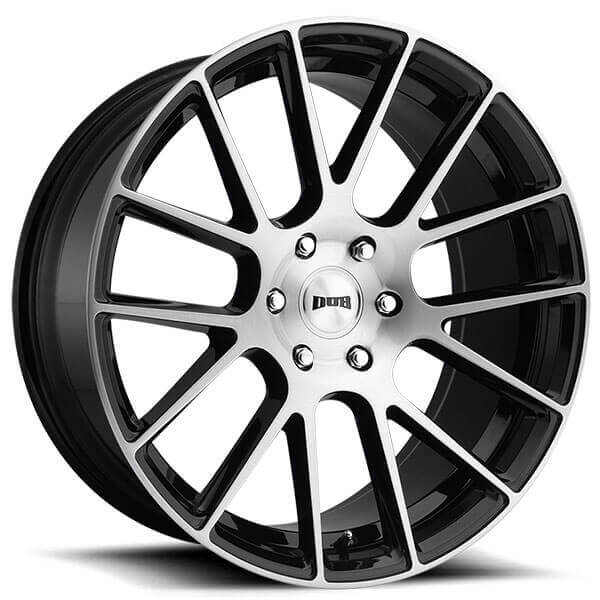 """22"""" Dub Wheels Luxe S206 Gloss Black with Brushed Face Rims"""