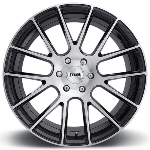 """Black Wheels Dub Alloys: 24"""" Dub Wheels Luxe S206 Gloss Black With Brushed Face"""