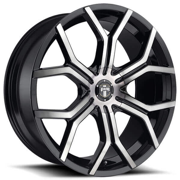 "24"" Dub Wheels Royalty S209 Matte Black Machined with Dark Tint Rims"