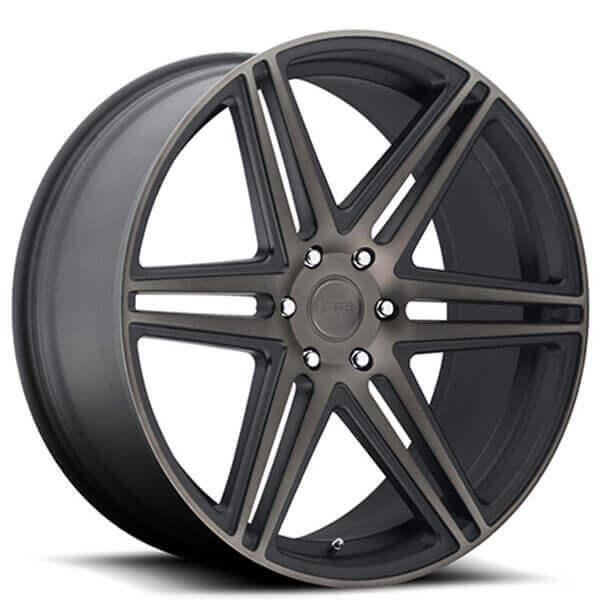 "24"" Dub Wheels Shot Skillz S123 Black Machined with Dark Tint Rims"