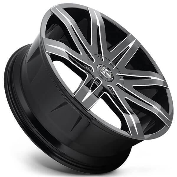 "Black Wheels Dub Alloys: 20"" Dub Wheels Stacks S227 Gloss Black Milled Rims #DUB080-1"