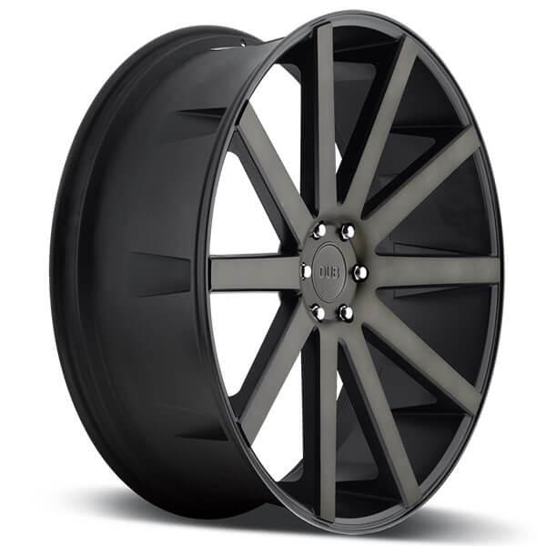 "22"" Dub Wheels Shot Calla S121 Black Machined with Dark Tint Rims"
