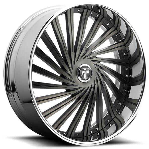 "26"" Dub Wheels Dazed S241 Black and Machined with DDT Chrome Lip Rims"