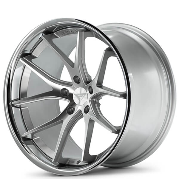 "20/22"" Staggered Ferrada Wheels FR2 Silver Machined with Chrome Lip SlingShot Rims"