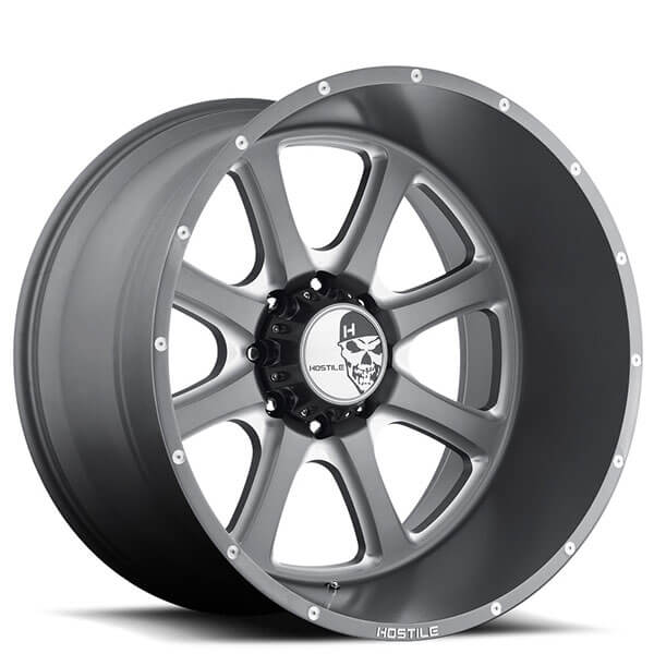 """22"""" Hostile Wheels H105 Exile Anthracite Gray with Milled ..."""