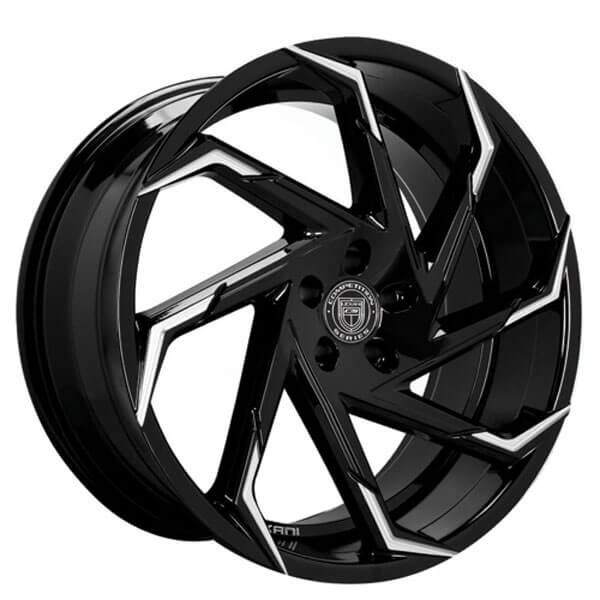 """22"""" Staggered Lexani Wheels Cyclone Gloss Black with Machined Tips Rims"""