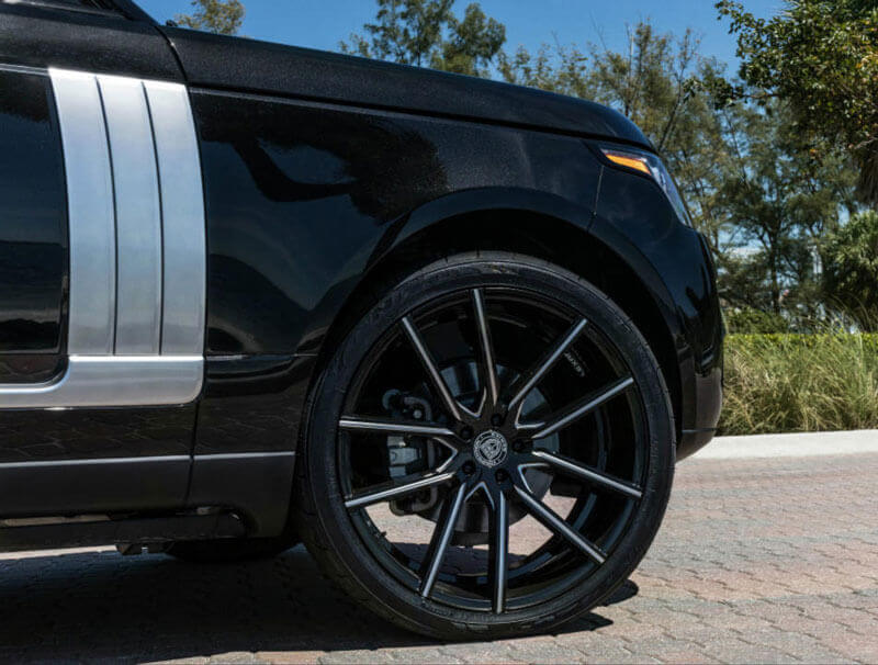 """22"""" Staggered Lexani Wheels Gravity Black with CNC Accents Rims"""