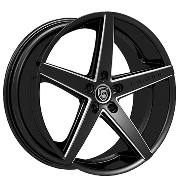 """20"""" Staggered Lexani Wheels R-Four Black with CNC Accents Rims"""