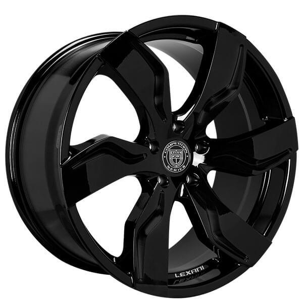"""22"""" Staggered Lexani Wheels Zagato Gloss Black Rims"""
