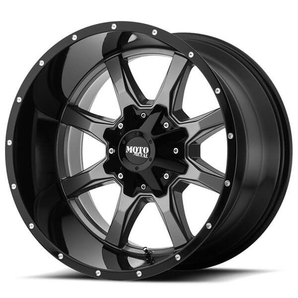 "20"" Moto Metal Wheels MO970 Gray with Black Lip Off-Road Rims"