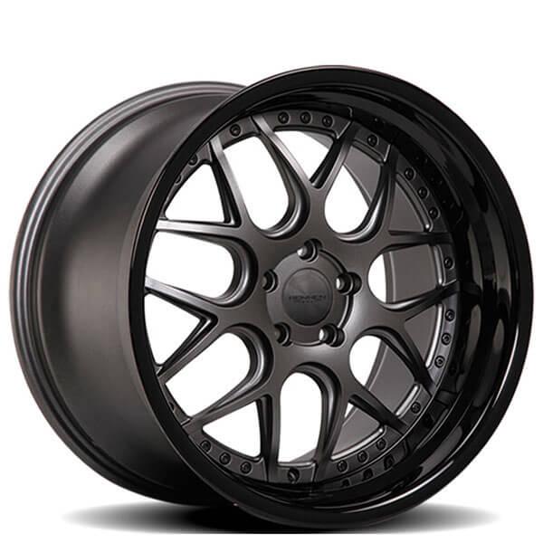 staggered rennen wheels csl  gun metal  gloss black lip rims rn
