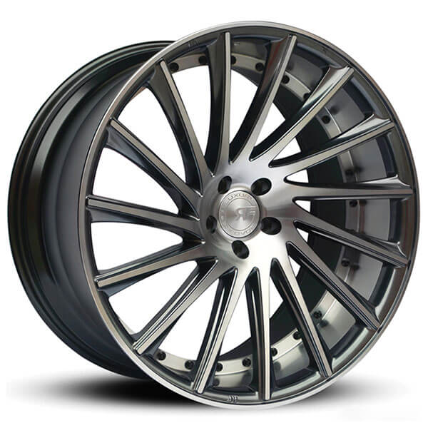 "22"" Staggered Road Force Wheels RF16 Gunmetal Machined Face with Dark Tint Rims"