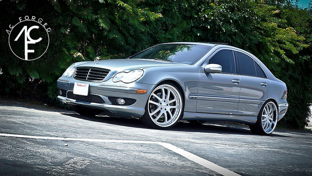 """24"""" AC Forged Wheels AC312 Brushed Face with Chrome Lip Three Piece Rims"""