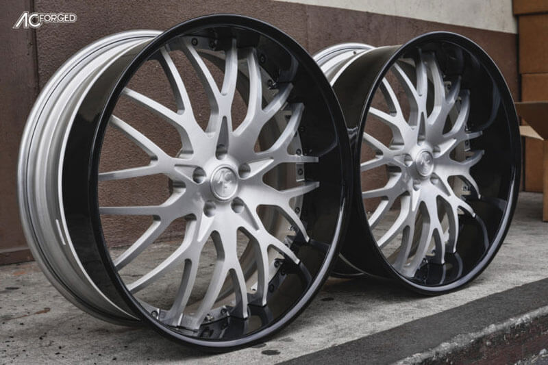 AC Forged Wheels 313 Satin with Gloss Black Extended Lip 3 Piece Rims