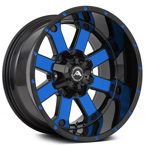 """20"""" American Off-Road Wheels A108 Black Machined Face With"""