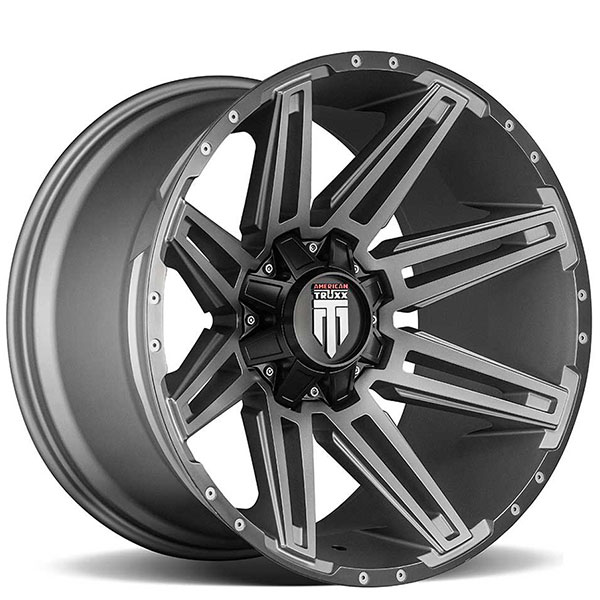 "22"" American Truxx Wheels AT-1903 Boom Gunmetal with Black Lip Off-Road Rims"