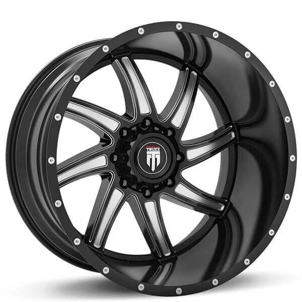 american truxx wheels   vortex black milled  road rims