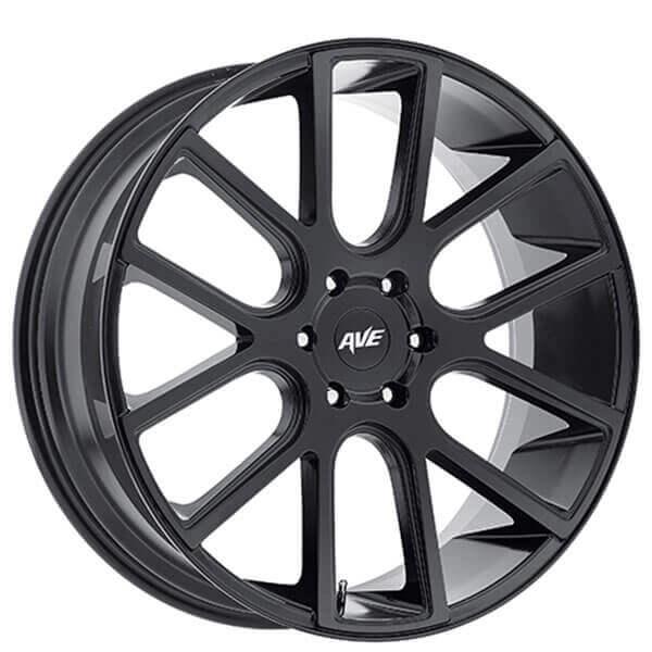 "24"" Avenue Wheels A614 Satin Black Rims"