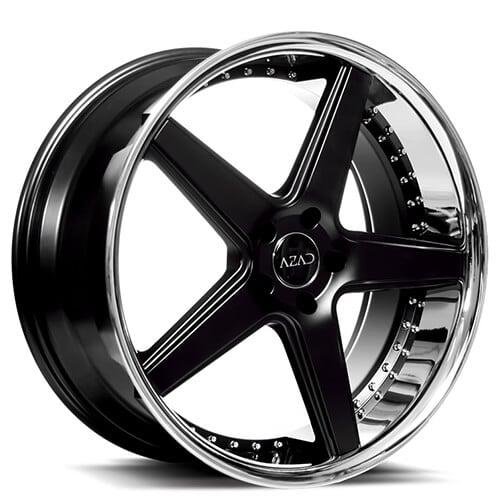 "20"" Staggered Azad Wheels AZ008 Semi Gloss Black with Chrome Lip Rims"