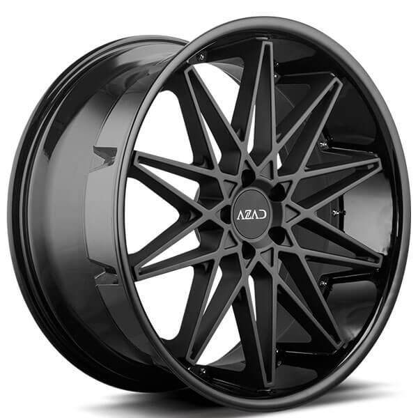 "Porsche Experience Center >> 22"" Azad Wheels AZ41 Matte Black Center with Gloss Black Lip Rims #AZ034-1"