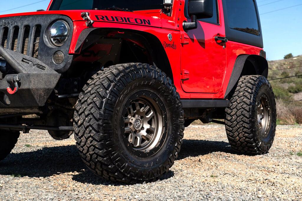 "Jeep Wrangler Rhino >> 17"" Black Rhino Wheels Barstow Matte Bronze with Matte Black Lip Ring Off-Road Rims #BRO011-1"