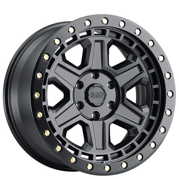 "18"" Black Rhino Wheels Reno Matte Black With Brass Bolts"