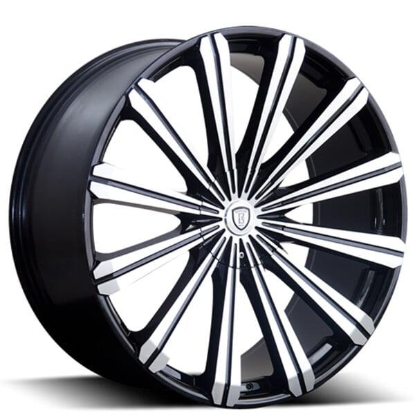 "26"" Borghini Wheels B18 Black Machined Rims"