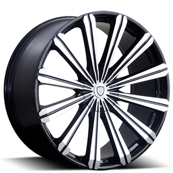 "24"" Borghini Wheels B18 Black Machined Rims"