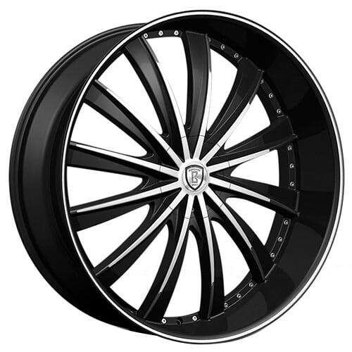 "22"" Borghini Wheels B19 Black Machined Rims"