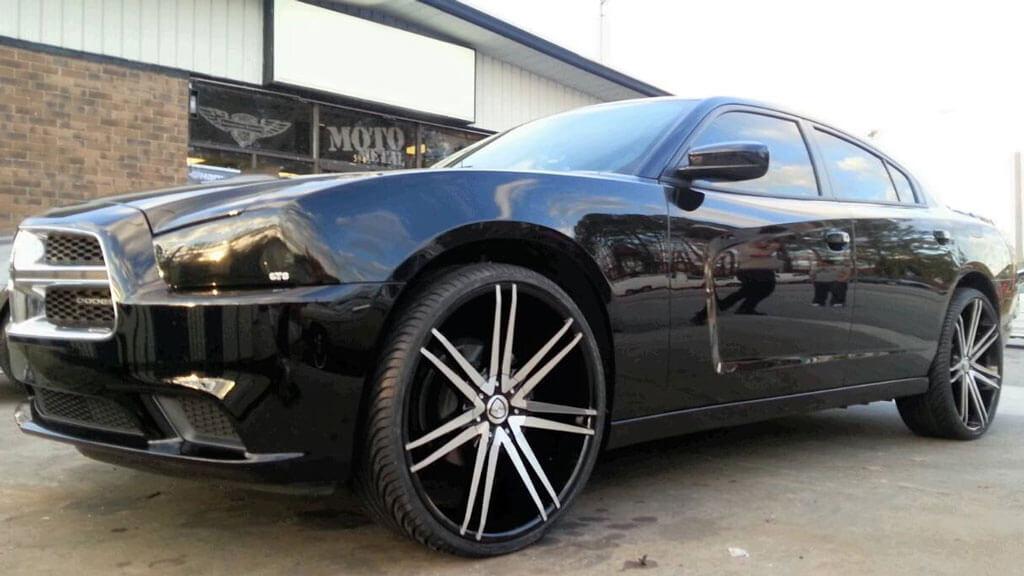 "24"" Borghini Wheels B20 Black Machined Rims"
