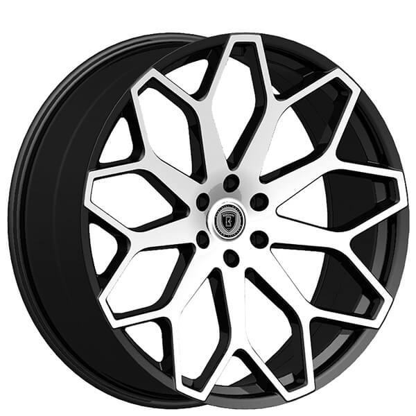 "24"" Borghini Wheels B28 Black Machined Rims"