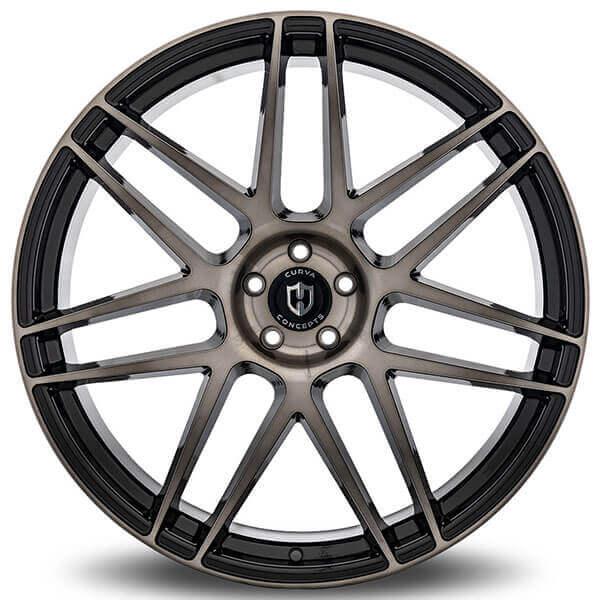"22"" Curva Wheels C300 Black Tinted Brushed Face Rims"