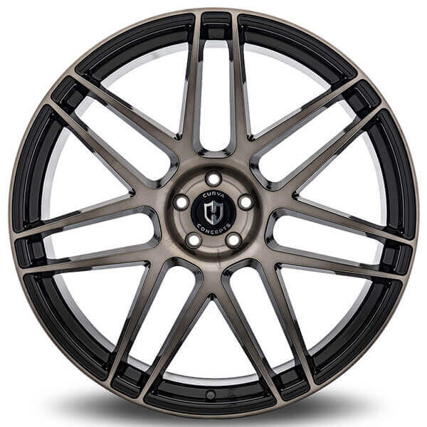 """22"""" Staggered Curva Wheels C300 Black Tinted Brushed Face Rims"""