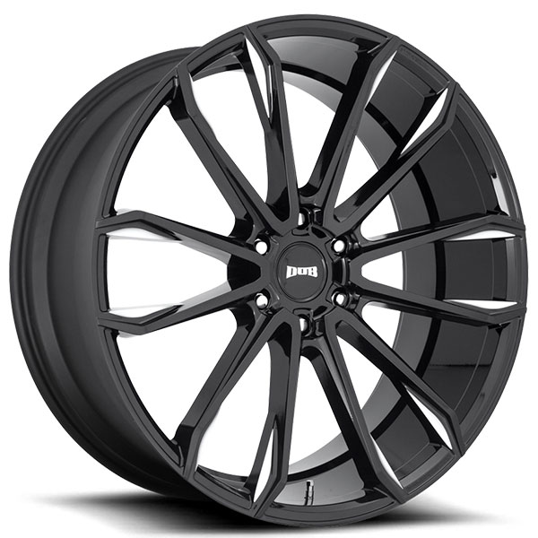 "24"" Dub Wheels Clout S252 Gloss Black Milled Rims"