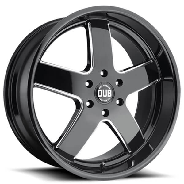 "Black Wheels Dub Alloys: 24"" Dub Wheels Big Baller S223 Gloss Black Milled Rims"