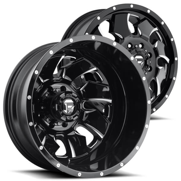 """20"""" Fuel Wheels D574 Cleaver Dually Gloss Black Milled Off-Road Rims"""