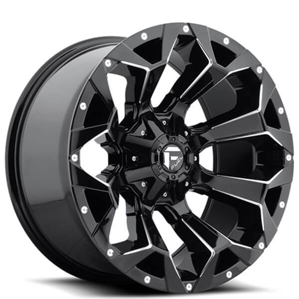"20"" Fuel Wheels D576 Assault Gloss Black Milled Off-Road Rims"